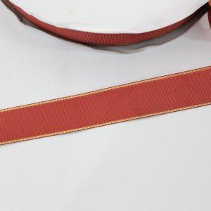 Лента репсовая однотонная с металл. кромкой(золото) 25 мм, длина 25 ярдов, цвет: 780 красно-оранжевый