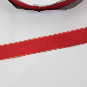 Лента репсовая однотонная с металл. кромкой(золото) 25 мм, длина 25 ярдов, цвет: 250 красный