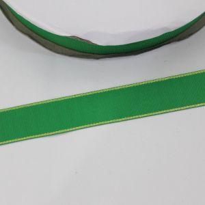Лента репсовая однотонная с металл. кромкой(золото) 25 мм, длина 25 ярдов, цвет: 580 зеленый