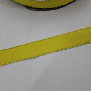 Лента репсовая однотонная с металл. кромкой(золото) 25 мм, длина 25 ярдов, цвет: 645 желтый