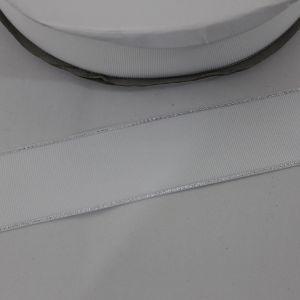 Лента репсовая однотонная с металл. кромкой(серебро) 38 мм, длина 25 ярдов, цвет: 029 белый