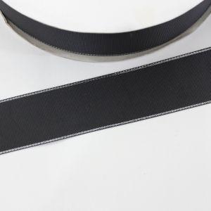 Лента репсовая однотонная с металл. кромкой(серебро) 38 мм, длина 25 ярдов, цвет: 030 черный