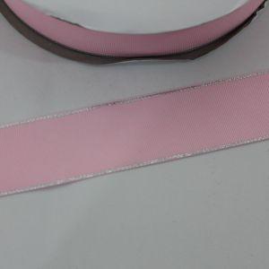 Лента репсовая однотонная с металл. кромкой(серебро) 38 мм, длина 25 ярдов, цвет: 123 светло-розовый