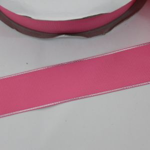 Лента репсовая однотонная с металл. кромкой(серебро) 38 мм, длина 25 ярдов, цвет: 156 розовый