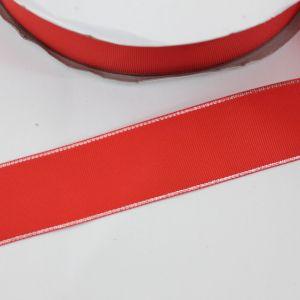 Лента репсовая однотонная с металл. кромкой(серебро) 38 мм, длина 25 ярдов, цвет: 235 алый