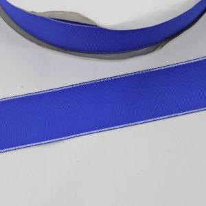 Лента репсовая однотонная с металл. кромкой(серебро) 38 мм, длина 25 ярдов, цвет: 352 синий