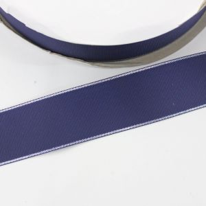 Лента репсовая однотонная с металл. кромкой(серебро) 38 мм, длина 25 ярдов, цвет: 370 темно-синий
