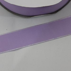 Лента репсовая однотонная с металл. кромкой(серебро) 38 мм, длина 25 ярдов, цвет: 430 светло-сиреневый