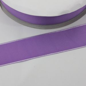 Лента репсовая однотонная с металл. кромкой(серебро) 38 мм, длина 25 ярдов, цвет: 463 сиреневый