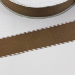 Лента репсовая однотонная с металл. кромкой(серебро) 38 мм, длина 25 ярдов, цвет: 847 темно-коричневый