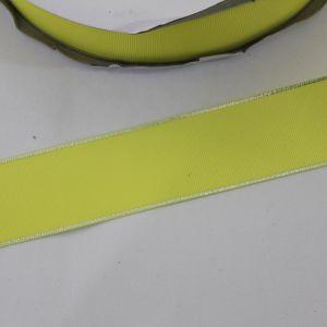 Лента репсовая однотонная с металл. кромкой(серебро) 38 мм, длина 25 ярдов, цвет: 640 светло-желтый(лимонный)