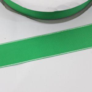 Лента репсовая однотонная с металл. кромкой(серебро) 38 мм, длина 25 ярдов, цвет: 580 зеленый