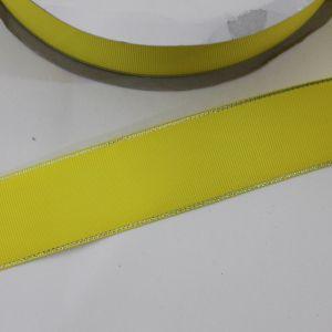 Лента репсовая однотонная с металл. кромкой(серебро) 38 мм, длина 25 ярдов, цвет: 645 желтый