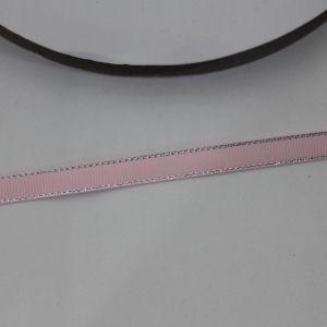 `Лента репсовая однотонная с металл. кромкой(серебро) 09 мм, цвет: 123 светло-розовый