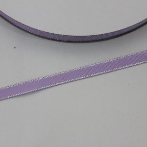 `Лента репсовая однотонная с металл. кромкой(серебро) 09 мм, цвет: 430 светло-сиреневый