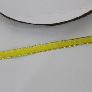 `Лента репсовая однотонная с металл. кромкой(серебро) 09 мм, цвет: 645 желтый