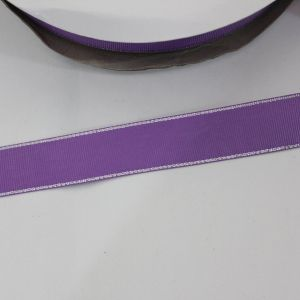 `Лента репсовая однотонная с металл. кромкой(серебро) 25 мм, цвет: 463 сиреневый