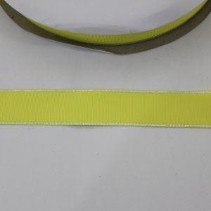 `Лента репсовая однотонная с металл. кромкой(серебро) 25 мм, цвет: 640 светло-желтый(лимонный)