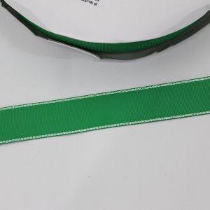 `Лента репсовая однотонная с металл. кромкой(серебро) 25 мм, цвет: 580 зеленый