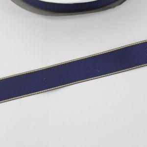 `Лента репсовая однотонная с металл. кромкой(золото) 25 мм, цвет: 370 темно-синий
