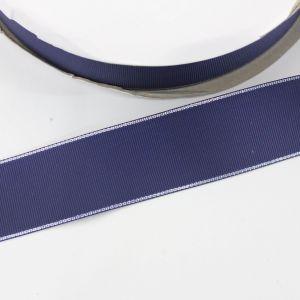 `Лента репсовая однотонная с металл. кромкой(серебро) 38 мм, цвет: 370 темно-синий