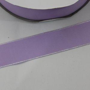 `Лента репсовая однотонная с металл. кромкой(серебро) 38 мм, цвет: 430 светло-сиреневый