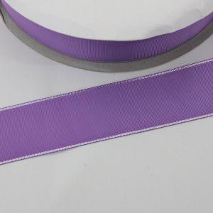 `Лента репсовая однотонная с металл. кромкой(серебро) 38 мм, цвет: 463 сиреневый