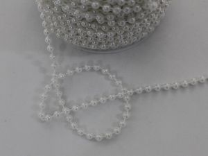 Бусы на нити, диаметр 5 мм, длина 30м, цвет белый