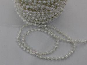 Бусы на нити, диаметр 5 мм, длина 30м, цвет кремовый