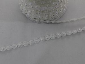 Полубусины на нитях 10 мм, длина 25м, цвет белый, Арт. БСН0037
