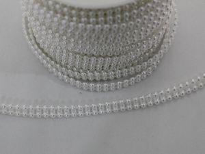 Бусины на нитях 4 мм, длина 25м, цвет белый