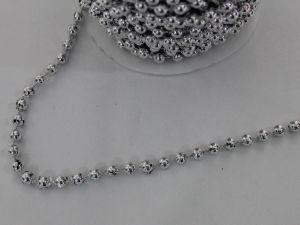 Бусины на нити 6 мм, длина 25м, цвет серебро