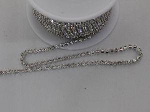 Стразы на цепочке серебро, размер 2,4 мм, длина 10 ярдов, цвет страз: прозрачный