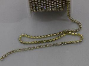Стразы на цепочке золото, размер 2,4 мм, длина 10 ярдов, цвет страз: прозрачный