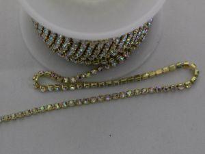 Стразы на цепочке золото, размер 2,4 мм, длина 10 ярдов, цвет страз: хамелеон