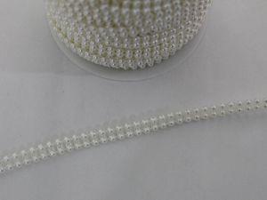 `Бусины на нитях 4 мм, цвет кремовый