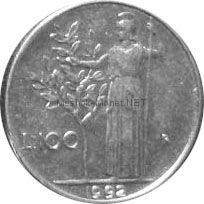 Италия 100 лир 1992 г.
