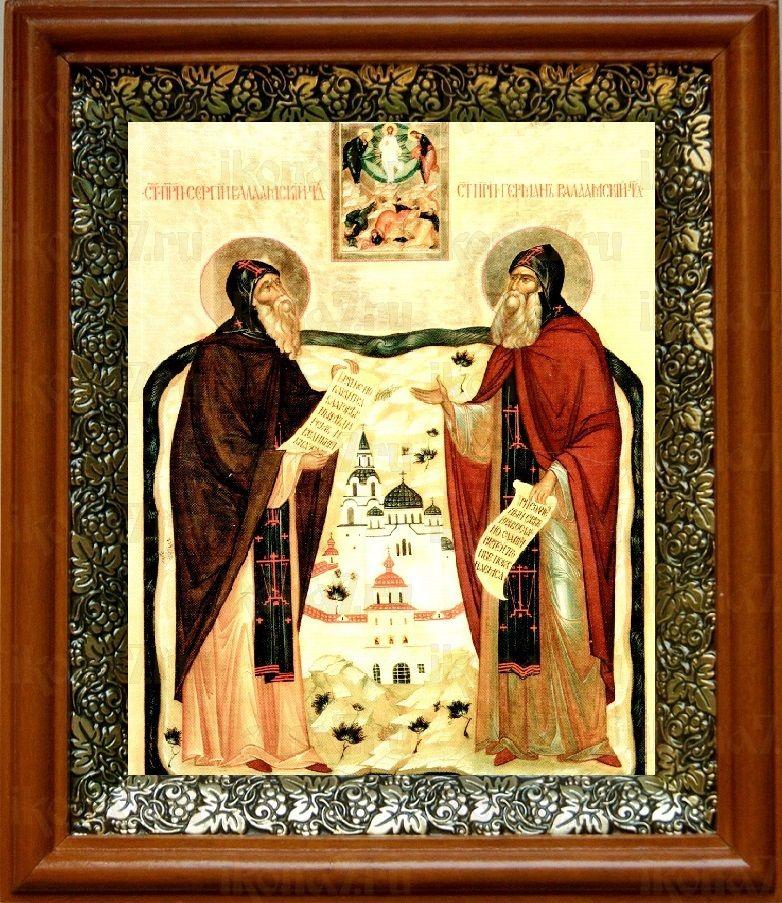 Сергий и Герман Валаамские (19х22), светлый киот