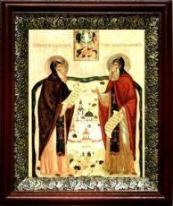 Сергий и Герман Валаамские (19х22), темный киот