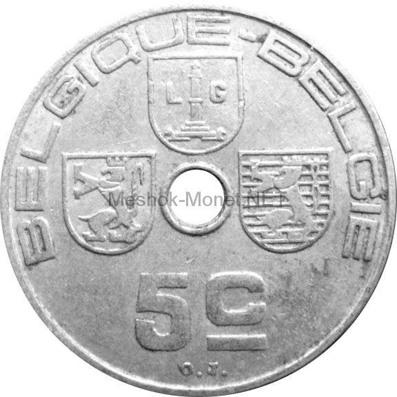 Бельгия 5 сентим 1938 г.