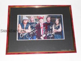 Автографы: AC/DC. Ангус Янг, Малколм Янг, Фил Радд, Клифф Уильямс, Брайан Джонсон.  Редкость!