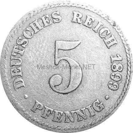 Германия 5 пфеннигов 1890 г.