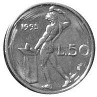 Италия 50 лир 1995 г.