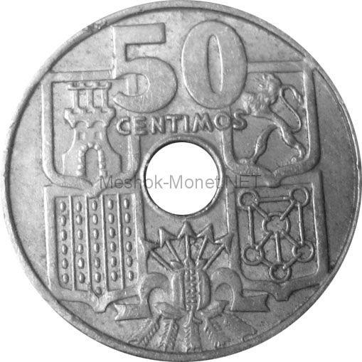 Испания 50 сентимо 1949 г.