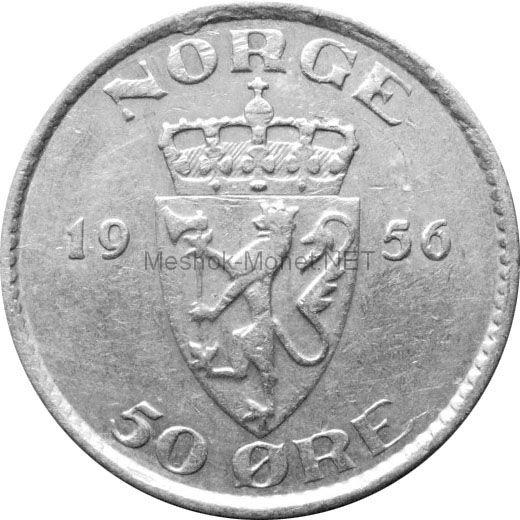 Норвегия 50 эре 1956 г.
