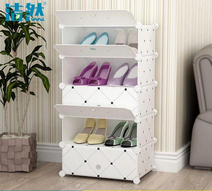 Складной шкаф для обуви в прихожую на 5 полок (Цвет: Белый)