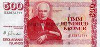 Банкнота Исландия: 500 крон 2001 г