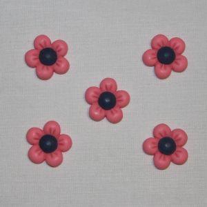 "Кабошон ""Цветок"", пластик, 22 мм, цвет - ярко-розовый (1уп = 50шт), Арт. КБП0346-4"