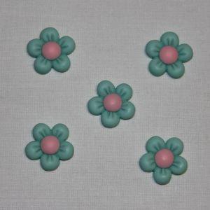 """Кабошон """"Цветок"""", пластик, 22 мм, цвет - зеленый (1уп = 50шт), Арт. КБП0346-5"""