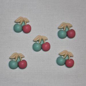 "Кабошон ""Вишенки"", пластик, 21х19 мм, цвет - зелено-розовый (1уп = 50шт)"